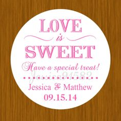 Wedding Party Favor Stickers  Name and Date  Pick by jessica91582, $3.50