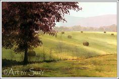"""Bales at Dawn"" by Suzy, watercolor"
