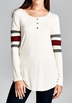 White Patchwork Buttons Irregular Round Neck Casual T-Shirt