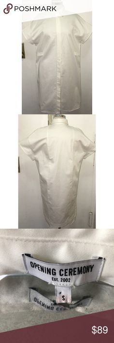 Opening Ceremony Poplin White Shirt Dress Sz S Very well kept Poplin Shirt Dress size small. There is a minor spot on the dress as displayed in the pic. Opening Ceremony Dresses