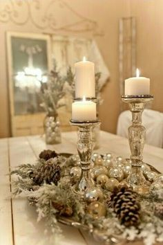 50 Affordable Christmas Table Centerpieces Ideas For Your Dining Room - Are you looking for Christmas table decoration ideas for your Christmas feasts? You need not worry because below are a couple of Christmas table decor. Christmas Table Centerpieces, Christmas Tablescapes, Xmas Decorations, Centerpiece Ideas, Christmas Candles, Holiday Tablescape, White Centerpiece, Candle Centerpieces, Winter Wonderland Centerpieces