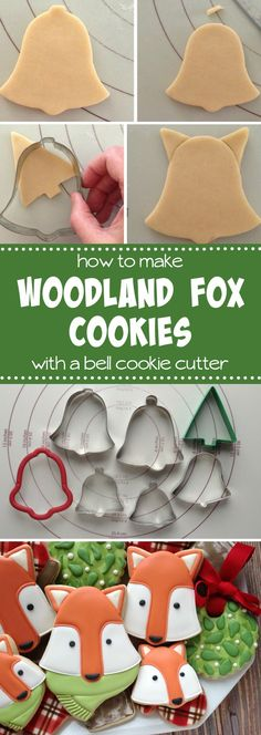 to make woodland fox cookies with a bell cutter with Clough'D 9 Cookies via Fancy Cookies, Fox Cookies, Iced Cookies, Cute Cookies, Royal Icing Cookies, Cupcake Cookies, Sugar Cookies, Baking Cookies, Cookie Tutorials