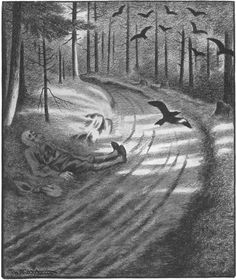 Date: Technique: Pen, pencil and black crayon, 271 x 225 mm Illustration from the Svartedauen ( The Black Death ) Source 1 . Black Metal, Theodore Kittelsen, Black Crayon, Most Popular Artists, Folk, Forest Road, Sombre, Nature Paintings, Memento Mori