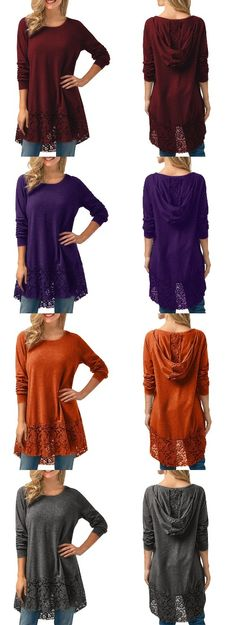 High Low Lace Trim Hooded Blouse #valentinesday Tee T Shirt, Women's Tops, Lace Trim, Tees, Shirts, High Low, Curvy, Sewing, Blouse