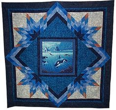 Orcas Made by Frances Brackeen at From Marti featuring Quilting with The Perfect Patchwork System Quilting Projects, Quilting Designs, Quilting Ideas, Patchwork Quilting, Quilt Design, Wildlife Quilts, Ocean Quilt, Fabric Panel Quilts, Star Quilt Patterns