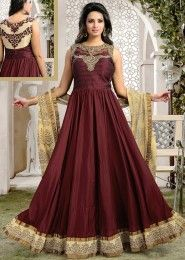 Party Wear Art Silk Maroon Kasab Work Anarkali Suit