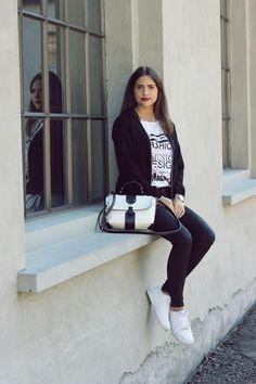 statement shirt and black short with black jacket - Elena Sarah Black Shorts, German, Sporty, Winter, Inspiration, Style, Fashion, Black Man, Nice Outfits