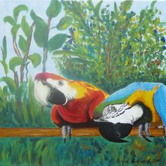 Neugierige Papageien Acrylic on canvas