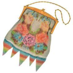 1920s Whiting & Davis Dresden Mesh Floral Silk Screened Bag