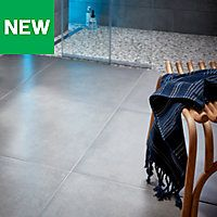 Konkrete Grey Matt Concrete effect Porcelain Floor tile, Pack of - B&Q for all your home and garden supplies and advice on all the latest DIY trends Underfloor Heating, Wet Rooms, Garden Supplies, Porcelain Tile, Swimming Pools, Tile Floor, Concrete, Home And Garden, Flooring