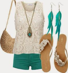 LOLO Moda: Cute summer fashion for women White & turquoise casual style Fashion Moda, Look Fashion, Womens Fashion, Teen Fashion, Spring Fashion, High Fashion, Female Fashion, Lolita Fashion, Ladies Fashion