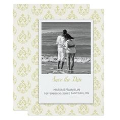 Gold Damask Save the Date Card - wedding invitations diy cyo special idea personalize card