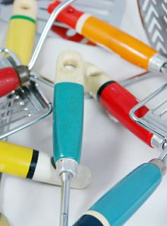 Colourful Vintage Kitchen Utensils