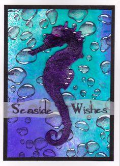 "I added ""Seaside Wishes - Karen R"" to an #inlinkz linkup!  Seahorse - Tim Holtz die Bubbles: Designs by Ryn"
