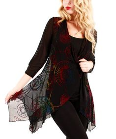 Look what I found on #zulily! Black & Red Medallion Sidetail Open Cardigan by Lily #zulilyfinds