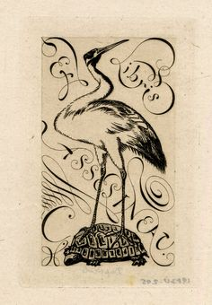 Ex-libris of Asselineau: the symbol of a crane perched on a turtle, the crane's head turned to the right; in the background, lettering inscribed diagonally and decorative, calligraphic flourishes. 1866 Etching