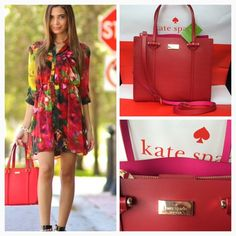 ❤️Kate Spade Elodie Red Leather NWT Gorgeous New and authentic from Kate Spade. Cutest bag ever! Red and gold. Material is genuine leather. Red in the outside and hot pink inside. Magnetic closure. Long strap is adjustable and detachable. ✅New with tag attached No trades                                                                            Please use OFFER BUTTON for reasonable offer kate spade Bags Shoulder Bags