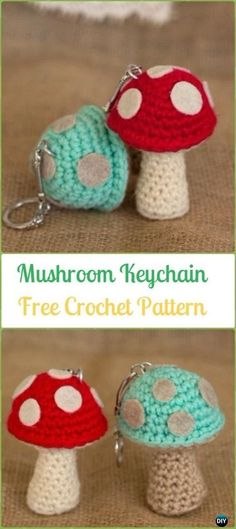 Crochet Mushroom Keychain Amigurumi Free Pattern - Amigurumi Crochet Mushroom Softies Free Patterns