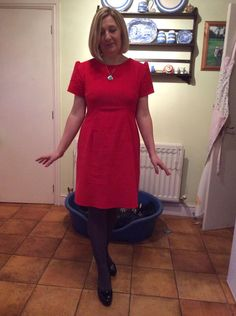 Emma's red Megan dress - sewing pattern from Love at First Stitch