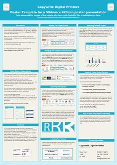 Poster template by ResearchPosters.co.za Copywrite Digital Printers Poster Template for a 594mm x 420mm poster presentation Your name and the names of.