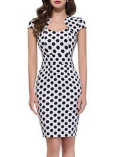 Sexy Polka Dot With Zips Bodycon-dress Cute Dresses, Beautiful Dresses, Casual Dresses, Fashion Dresses, Short Sleeve Dresses, Dresses For Work, Work Outfits, Dot Dress, Dress Up