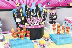 Healthy party snacks like fruit kebabs are sure to energize your little superhero girl and all her friends for fun party activities like dress-up, taking pictures in a photo booth or whacking a piñata.