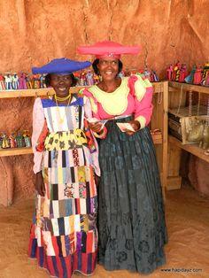 Beautiful woman in full Herero dress - #Namibia