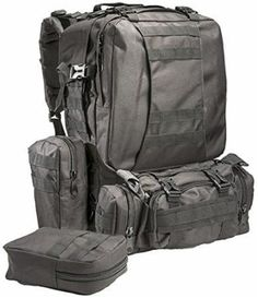 8834fe311ffb Large Tactical Backpack -with 3 Bonus MOLLE Bags - and Hydration Water  Bladder system included.