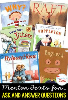 Primary mentor text suggested book list for ask and answering question- teaching questioning and inference skills- Reading Lessons, Reading Skills, Teaching Reading, Guided Reading, Close Reading, Learning, 2nd Grade Ela, Third Grade Reading, Second Grade