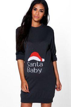 d02affa50ead boohoo Maternity Jenny Santa Baby Christmas Dress #sweater #holiday # christmas #dress #