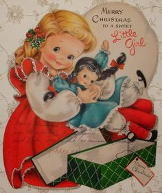 Vintage HALLMARK Christmas greeting cardHuge over-sized Die-cut cardGlittered accents on the ruffles and hem, and holly in the little girl's hair Card is in AS IS vintage condition There are se. Old Time Christmas, Hallmark Christmas, Old Fashioned Christmas, Christmas Scenes, Vintage Christmas Images, Retro Christmas, Vintage Holiday, Christmas Art, Vintage Greeting Cards