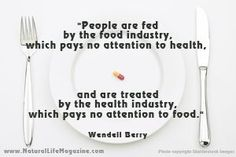 """""""People are fed by the food industry, which pays no attention to health, and are treated by the health industry, which pays no attention to food."""""""