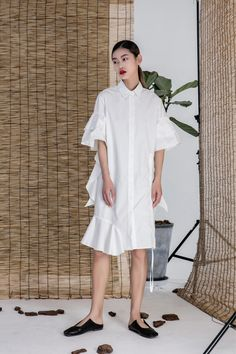 Designer club / 自制 荷叶袖抽绳设计独特风格衬衫式连衣裙OP女-淘宝网全球站