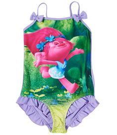7ba0ac651f710 Now your Trolls fan can have double the fun while splashing about in the  water in this pretty pink swimming costume.