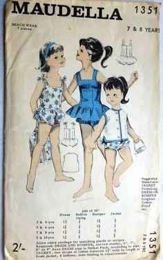 #Vintage #Sewing #Pattern Maudella 1351 #Beach #wear Romper