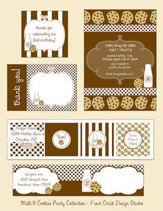 printable milk and cookies party set