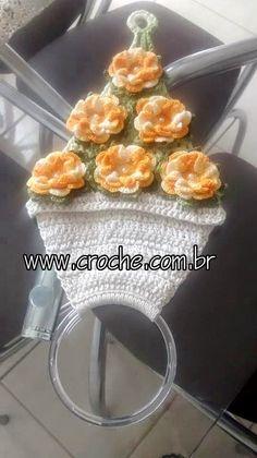 Hoje tem Flor !!!: Porta pano de pratos em crochê com passo a passo