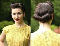 Different Hairstyles : Different Victory Roll Hairstyle With Cute Roll Bun For Long Faces Women The Steps of Making Victory Roll Hairstyle 1940 Victory Rolls Hairstyle. How To Do Victory Rolls Hairstyle. Historical Hairstyles, 1940s Hairstyles, Bun Hairstyles, Wedding Hairstyles, Bridesmaids Hairstyles, 1940s Wedding Hair, Short Wedding Hair, 1920s Hair, Trendy Wedding