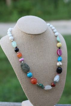 "$84 This stunning necklace is made with a variety of gorgeous gemstones such as labradorite, turquoise, quartz, variscite, jasper & many many more. It is finished with a sterling toggle clasp and measures 24"" long"