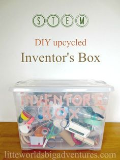 Upcycled Inventor's Box, a DIY STEM Activity | Putting together an inventor's box is a great way to recycle cardboard and random junk and turn it into loose parts for creative play.