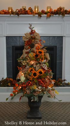 Decorated Fall Tree Ornaments & Tree Kit SBO Buy everything you need to recreate this 4 ft tree decorated for fall. Tree is included in the kit. Shop more tree and wreath designs in our online store. Fall Christmas Tree, Frosted Christmas Tree, Thanksgiving Tree, Fall Tree Decorations, Thanksgiving Decorations, Autumn Trees, Fall Leaves, Autumn Decorating, Decorating Ideas