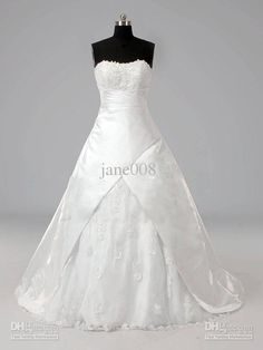 New Size Custom Ball Gown Strapless Chapel Train Satin white Wedding Dress