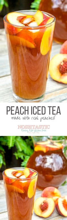 It's so simple and easy to make, Peach Iced Tea made with real peaches and only three ingredients! It's so simple and easy to make, Peach Iced Tea made with real peaches and only three ingredients! Yummy Drinks, Healthy Drinks, Yummy Food, Healthy Foods, Healthy Recipes, Sumo Natural, Natural Oil, Peach Ice Tea, Peach Lemonade
