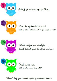 Stappenplan - toets Owl Theme Classroom, School Classroom, Co Teaching, First Day School, School Hacks, Spelling, How To Plan, Kids, Pictures