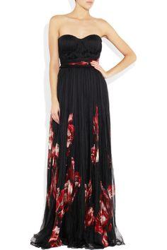 Alexander McQueen Floral-print pleated black silk-chiffon gown
