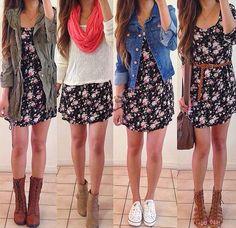 4 looks com a mesma peça de roupa: vestido
