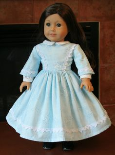 "Historical 1860's Girls Dress in light blue w/Venice Lace plus Petticoat for American Girl and 18"" Dolls. $45.00, via Etsy."