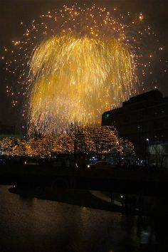 New Years Eve fireworks in downtown Omaha. Always a cool (and cold) sight to see!