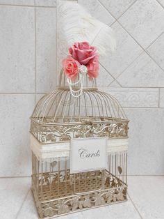 Large Champagne Gold Wedding Birdcage Card Holder  Wedding