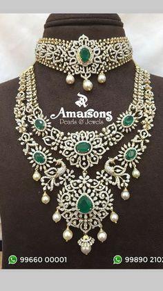 Diamond Necklaces, Diamond Jewellery, Diamond Pendant, Emerald Jewelry, Gold Jewelry, India Jewelry, Jewellery Designs, Emerald Diamond, Emeralds
